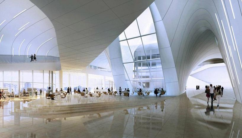 architecture zaha hadid projet mer caspienne Un centre culturel aux courbes fluides dessiné par Zaha Hadid