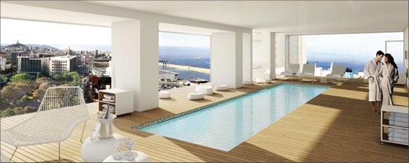 piscine spa tour marseille H99 quai arenc Visite de la Tour H99 : la future plus haute tour dhabitation de Marseille par Jean Baptiste Pietri