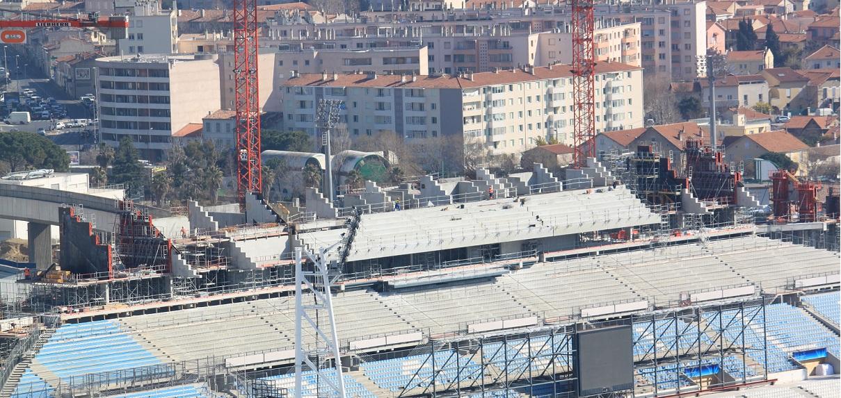 tribune ganay stade velodrome travaux Actualités sur le chantier de rénovation et dagrandissement du Stade Vélodrome de Marseille
