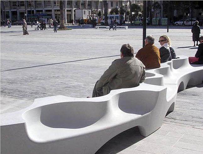mobilier urbain design banc public escofet beton. Black Bedroom Furniture Sets. Home Design Ideas