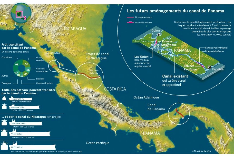projet canal panama nicaragua ocean atlantique pacifique Le projet de construction du canal du Nicaragua refait surface