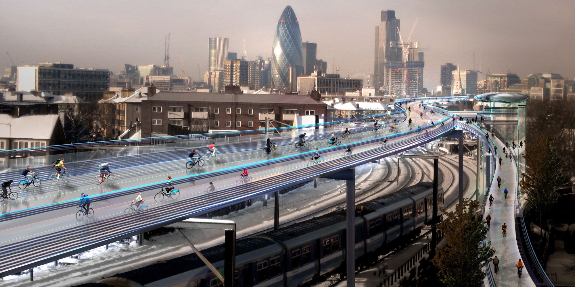 Insolite londres la piste cyclable du futur for Architecture londres