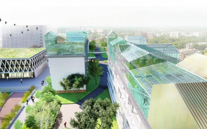 Serre agricole sur le toit d 39 un immeuble de logements for Architecture des batiments