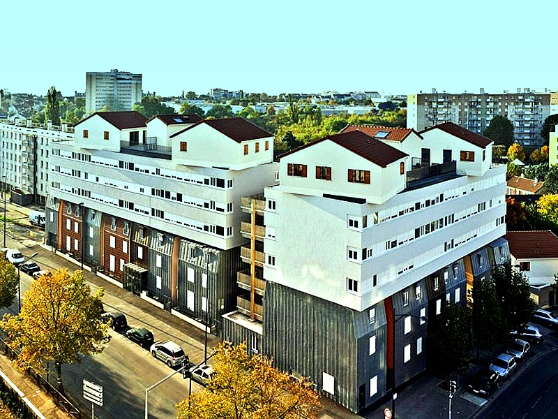 collage urbain un immeuble de logements d routant champigny sur marne. Black Bedroom Furniture Sets. Home Design Ideas