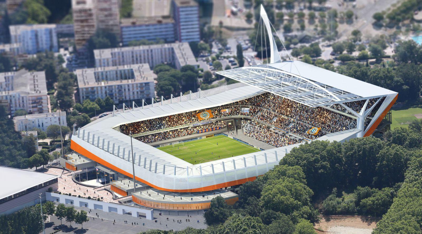 R habilitation et couverture du stade de la mosson for Architectes de france