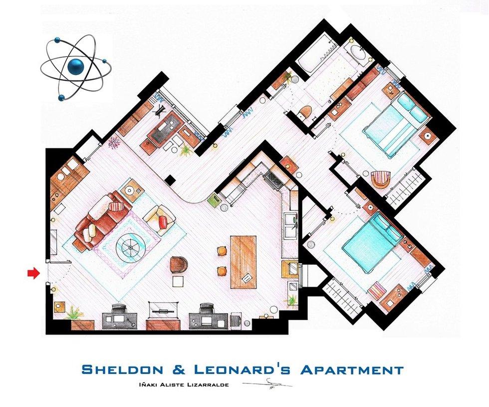 plan appartement big bang theory