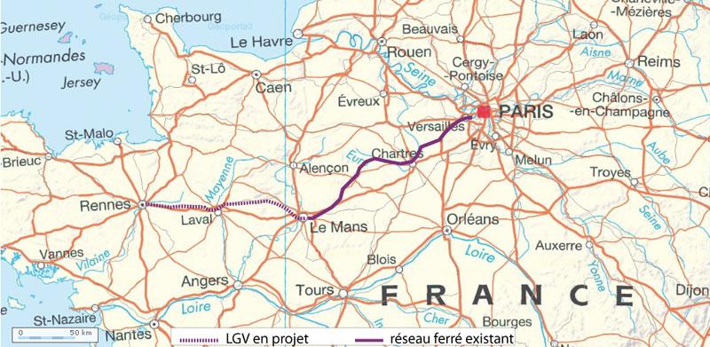 LGV mans rennes eiffage trace LGV Mans Rennes : ouvrage confié à Eiffage. Début des travaux