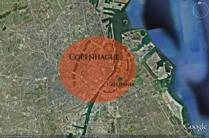 copenhague chritiania situation carte 700x465 Le quartier de Christiania  Copenhague : une utopie devenue ralit.