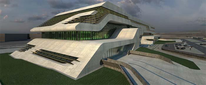 image synthese archives herault hadid zaha La cité administrative de l'Hérault à Montpellier. Architecte : Zaha Hadid