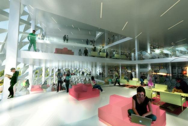interieur bibliotheque kazakhstan architecte danois big La future Bibliothèque Nationale du Kazakhstan véritable tourbillon architectural