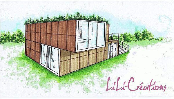 Maison container cration amenagement habitat for Plan amenagement container habitable