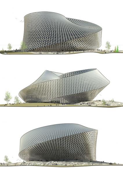 structure biblotheque nationale kazakhstan big La future Bibliothèque Nationale du Kazakhstan véritable tourbillon architectural